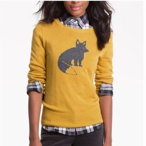 Caslon Mustard Yellow Pima Cotton Fox sweater
